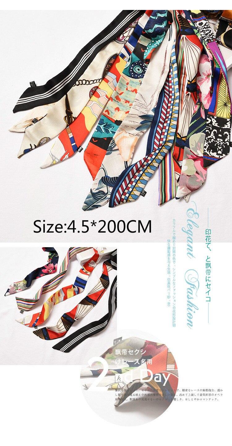 c78f664bfa87 De seda bufanda del Hijab las mujeres de primavera y otoño de Corea  estrecha franja bolsa pequeño cinta impresión bufandas Pochette Bandana de