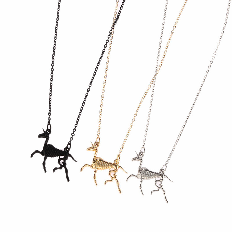 In 2016 ms fashion accessories Animal bones unicorn clavicle necklace
