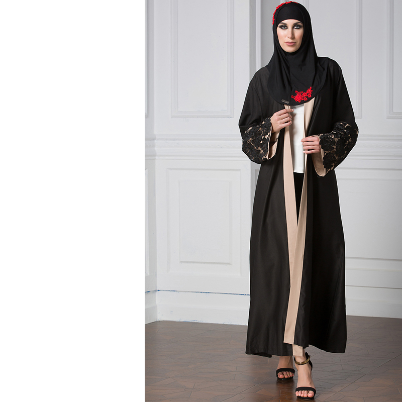 Muslim Abaya Dress Elegant Lace Cardigan Long Robes Kimono Jubah ...