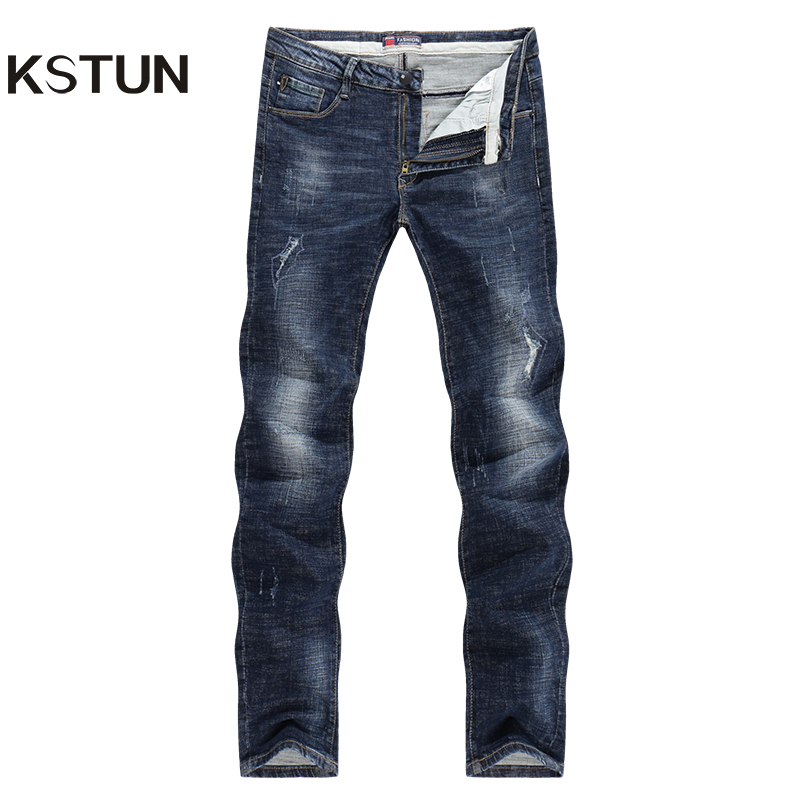 KSTUN 2017 Autumn Jeans Men Ripped Dark Blue Strong Stretch Slim Fit Pencils Pants Denim Pants Boys Students Casual Biker Jeans men s cowboy jeans fashion blue jeans pant men plus sizes regular slim fit denim jean pants male high quality brand jeans
