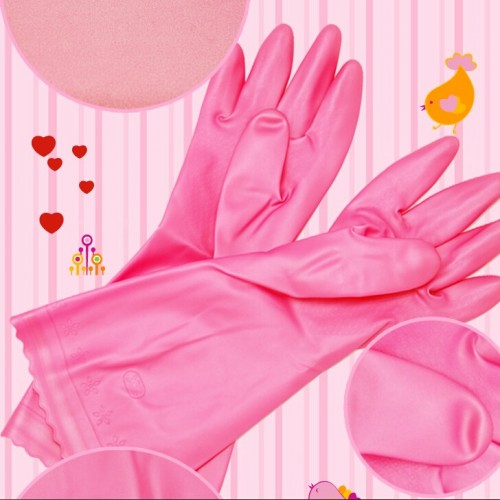 PVC Children size Kitchen work glove household gloves unisex slim household washing clean pvc glove pink white size s pair