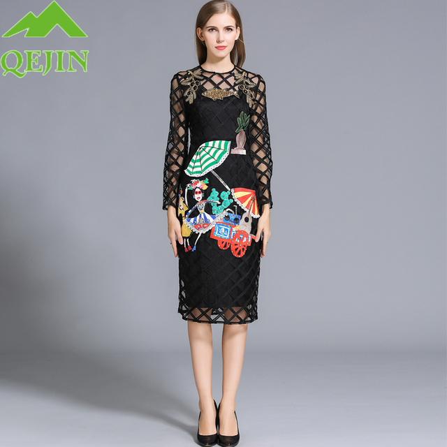 951031356054 Two Pieces of sets Europe style Embroidery Hollow out women Spring and Fall  Dress High Quality Long Sleeve Plus size Dresses
