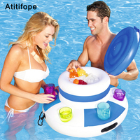 Big buoyancy leisure water inflatable ice bucket holder mobile phone cola drink bottle cup holder swimming pool accessories