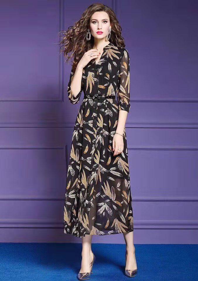 Robe Printemps Femmes Marque Supérieure De Nouvelle Européenne Partie Qualité Luxe D02749 Style 2019 Design Mode wfYZx1q