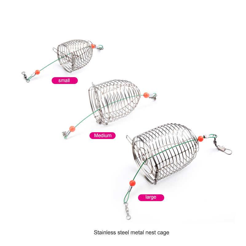 5PCs Wire Fishing Lure Cage Fish Bait Cage Fishing Trap Basket Feeder Holder BK