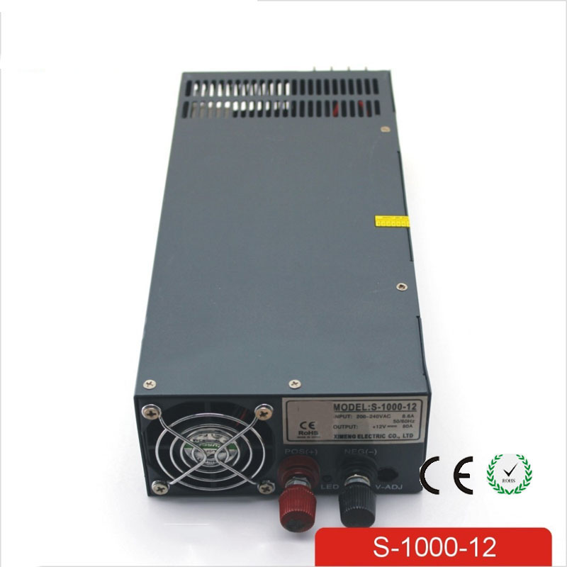 CE Soro 110V INPUT 1000W 12V 80A power supply Single Output Switching power supply for LED Strip light AC to DC UPS ac-dc