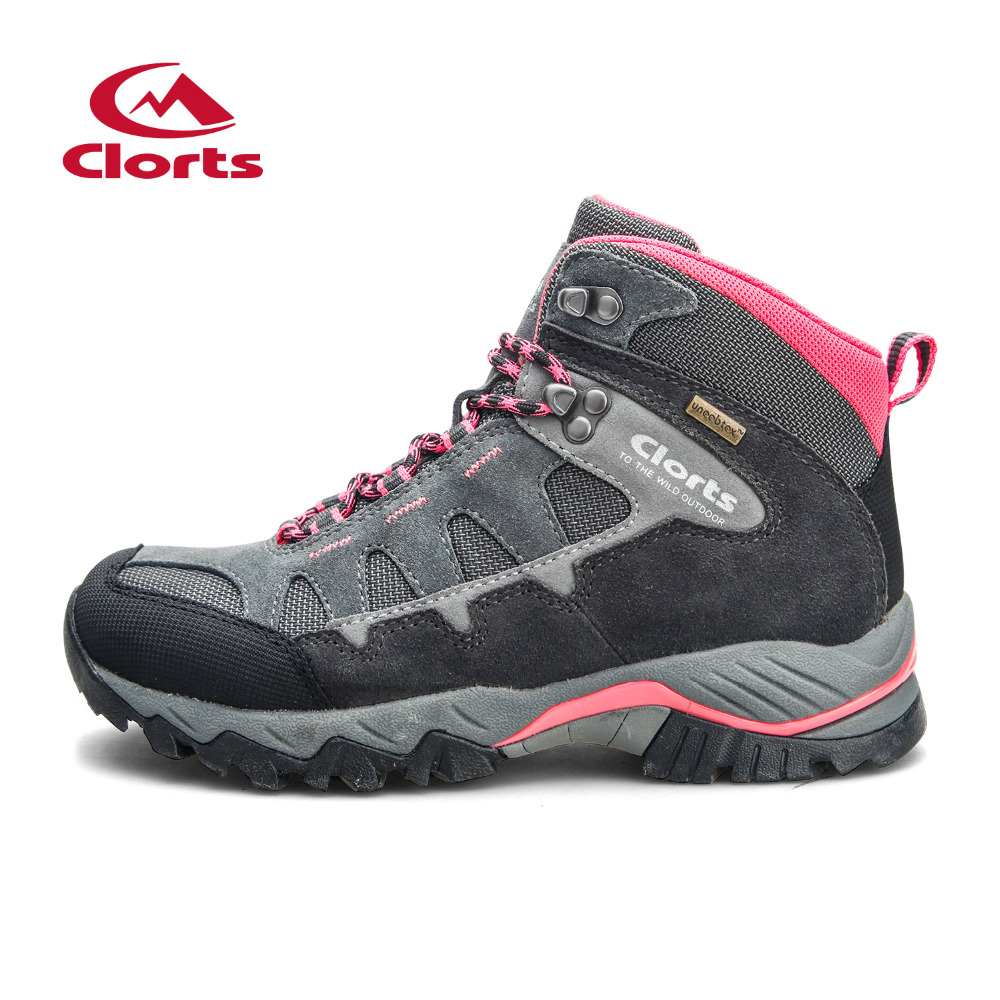 Clorts Outdoor Woman Waterproof Hiking Shoes Breathable Hiking Boots For Women Sport Waterproof Trekking Mountain Climbing Shoes clorts men trekking shoes 2016 waterproof breathable outdoor shoes non slip hiking boots sport sneakers 3d028