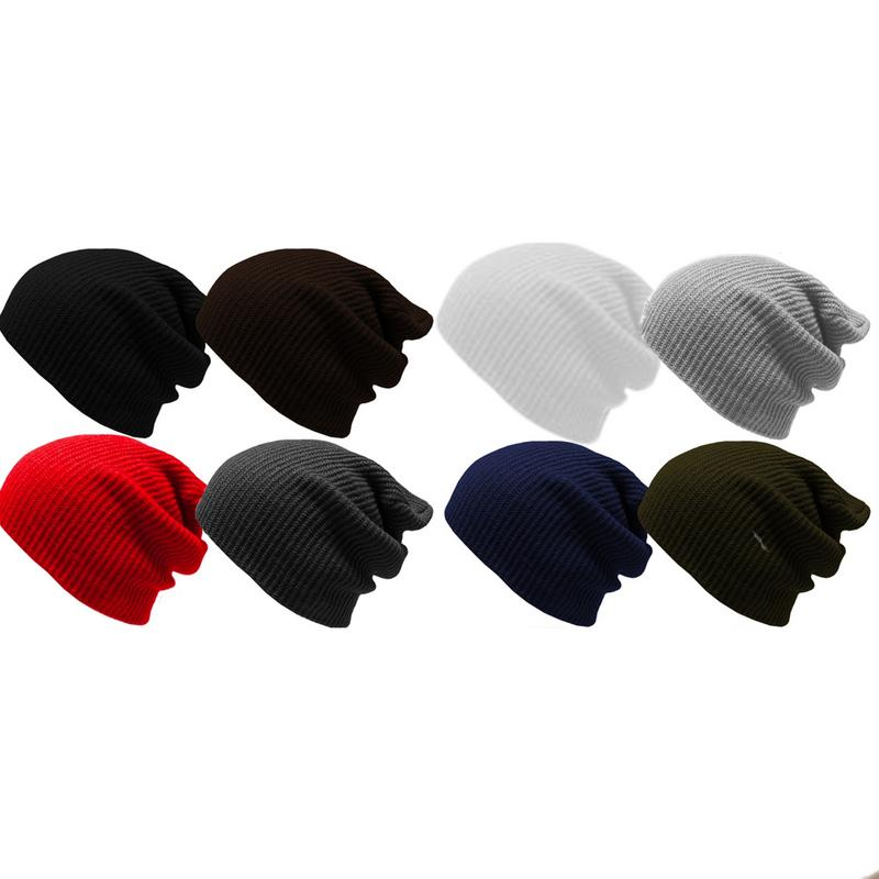 Spring Autumn Female Knitted Beanie Solid Color Hip-hop Slouch Hat Casual Unisex Cap Gorras