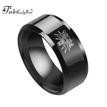 FairLadyHood Hot Game The Witcher 3 Ring Wild Hunt Medallion Titanium Stainless Steel Black Bike Rings for Men Punk Wolf Ring(China)