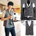 2015 хлопок сатин мода Ma3 Jia3 прямых продаж продвижение мужчины жилет мужская одежда мужской V - образным вырезом жилет модный личность