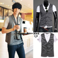 2015 Cotton Satin Fashion Ma3 Jia3 Direct Selling Promotion Men Vest Men's Clothing Male V-neck Vest Fashionable Personality