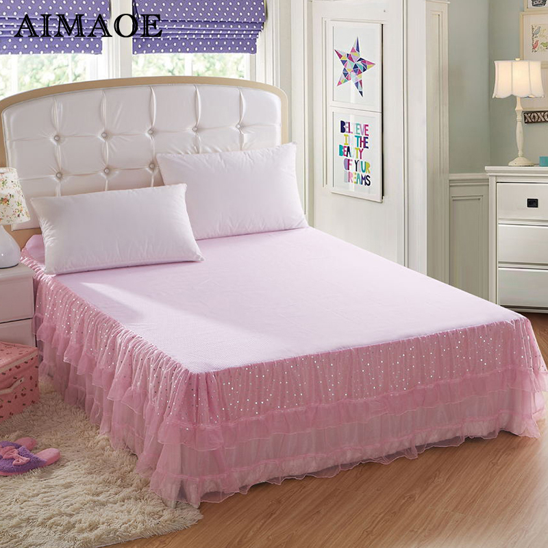 bedding sets bedspread princess lace bed skirts mattress cover full queen king size free. Black Bedroom Furniture Sets. Home Design Ideas