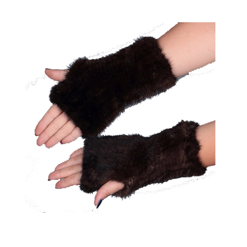 Womens Mittens 8'' Real Knitted Mink Furs