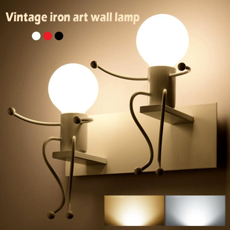 Wall Light Robot Wall Light American Country Wrought Iron Lamp Retro Bedroom Bedside Aisle Personality Creative Wall Lamp Z3 european creative personality retro nostalgic american country antique wrought iron wall sconce mediterranean diffuse gy309