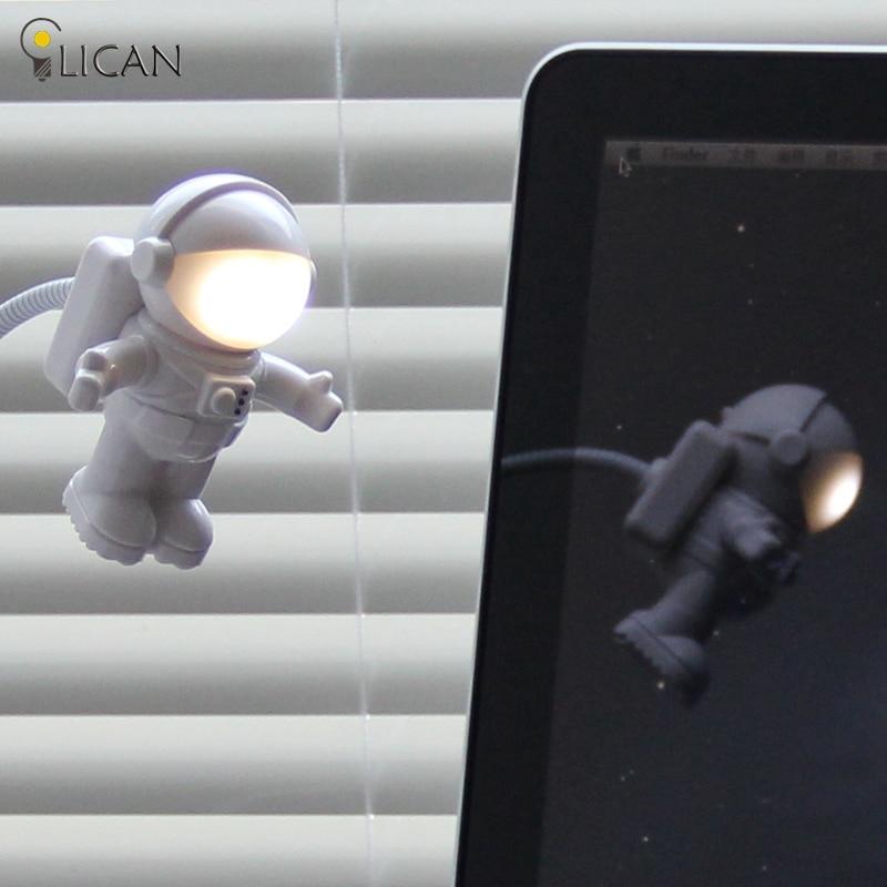 lican Mini creative Cute Gravity Astronaut Spaceman Flexible Tube Night Lamp For PC Portable Power Laptop Keyboard Reading Lamp