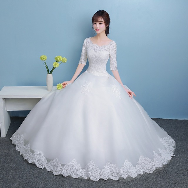 Beauty Emily 2018 Princess Bride Simple White Wedding Dresses Scoop Short Sleeve Lace Up