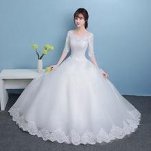 Beauty-Emily Princess Bride Simple White Wedding Dresses Scoop Short Sleeve Lace Up Bridal Gowns Vestido de casamento