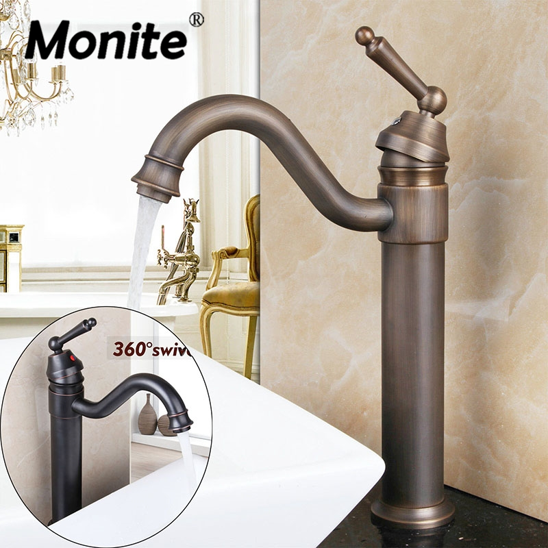 Swivel 360 ORB Antique Brass Rotated Steam Spout Deck Mounted Tall Bathroom Wash Basin Sink Vanity