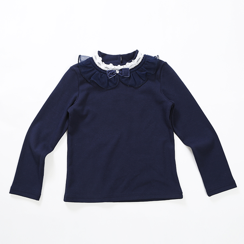 2016 Hot Style Casual Girls Blouses  O-neck Knitted Girls Shirt Solid Ivory And Sapphire Kids Blouses