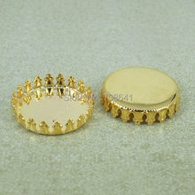 Blank Round Crown Bezel Trays Pad Bases Settings Resin Cabochon Findings for Floating Charms Lockets Making Golden tone Plated(China)