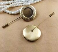 10 unids/lote Locket de la Foto ajustes en blanco cabochon base pin broches de Bronce Antiguo de la vendimia diy joyas hechas a mano