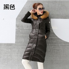 Nice new Europe America style women's X-long natural raccoon fur duck down&parkas winter fashion slim jackets and coats S1818