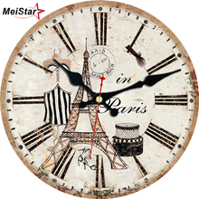 hot deal buy meistar 2018 vintage tower clocks for kitchen home office cafe wall decor watches silent clocks elegant large art wall clocks