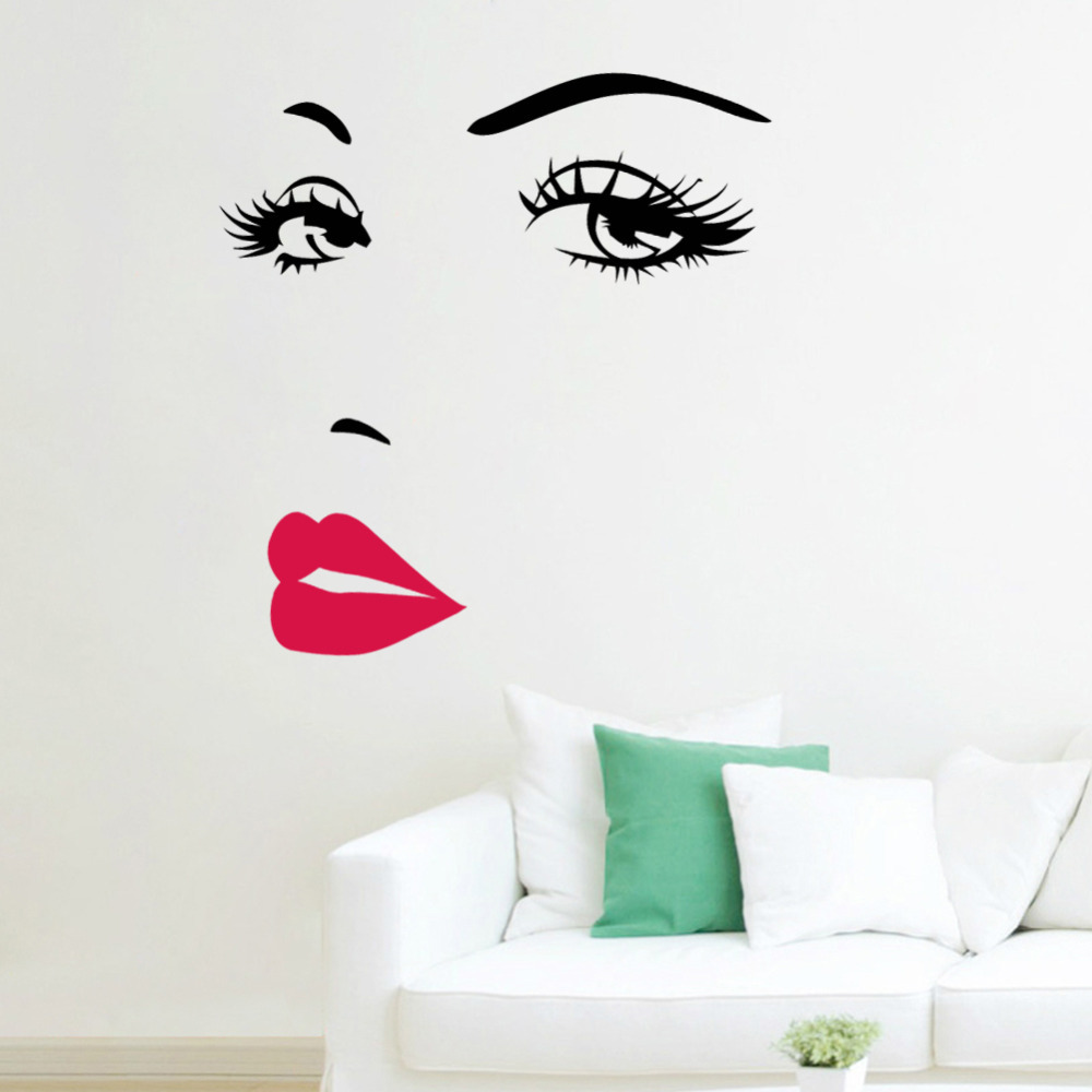 Marilyn Monroe Red Lips Vinyl Wall Stickers Art Mural Home Decor - Wall decals marilyn monroe