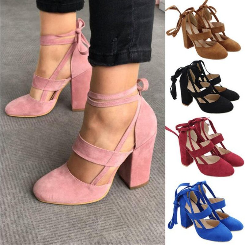 Size Female Ankle Strap High Heels Flock Gladiator Shoes Thick Heel Fashion Women Party Wedding Pumps Drop Shipping