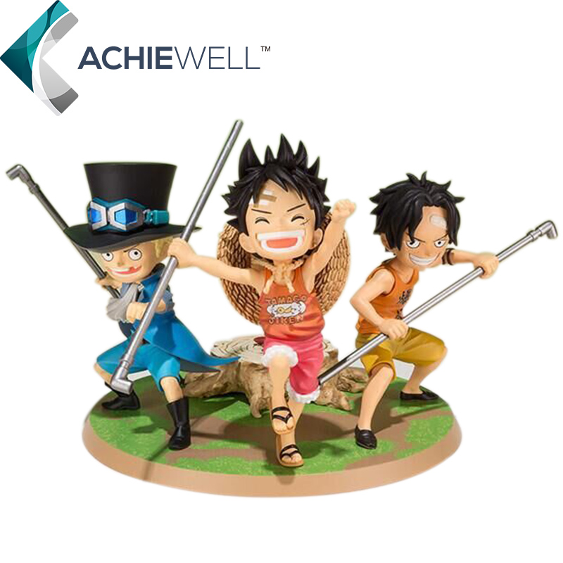 Japan Anime One Piece Small Monkey D Luffy Portgas D Ace Sabo Action Figures Three Brothers Model Collectible Toys For Kid Gift