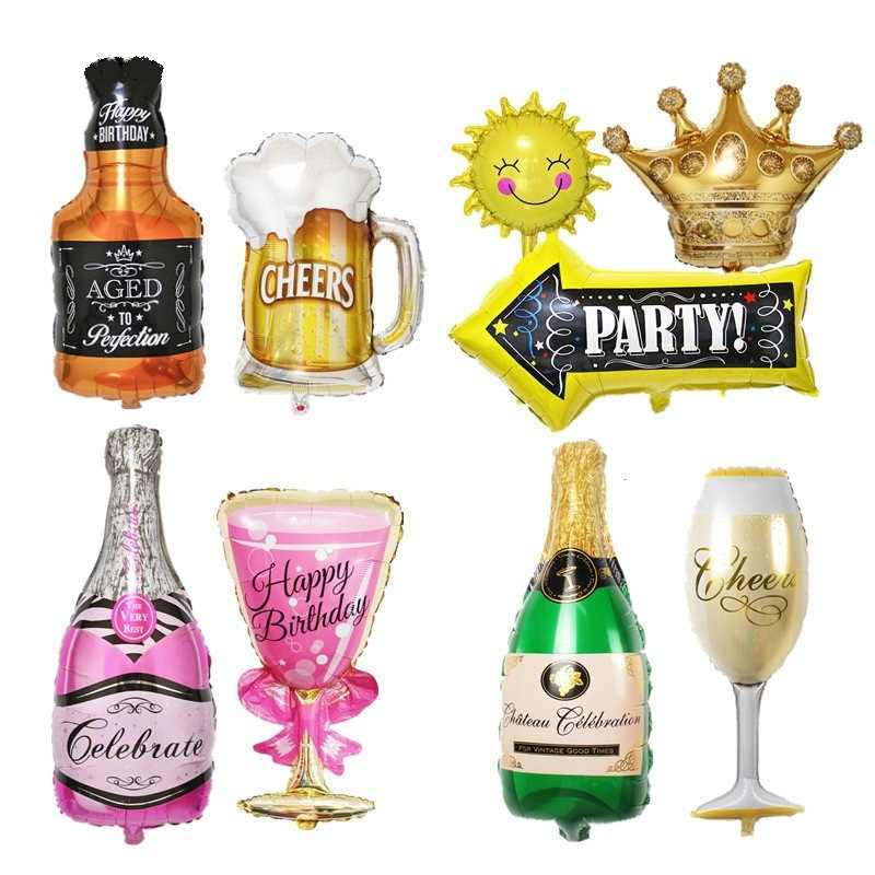 30 years old Happy Birthday Large Gold Crown Whiskey Bottle beer cup Foil Balloon Bar  Happy New Year Birthday Party Wedding