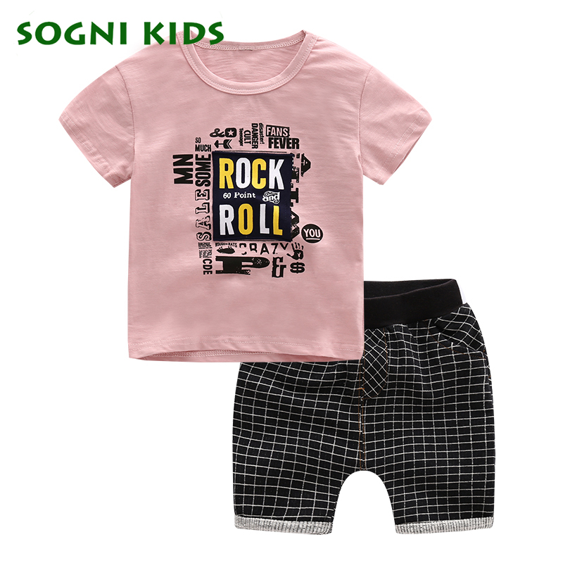 SOGNI KIDS summer brand casual letter boys clothing sets clothes kids short sleeves T shirt and