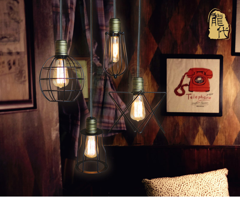 e27 edison art deco vintage industrial antique metal cage pendant light factory wire steel. Black Bedroom Furniture Sets. Home Design Ideas