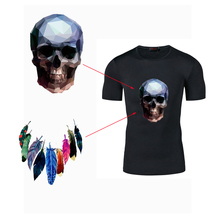 New DIY T-Shirt 14.8*22CM Skull Indians Patches For Clothing Heat Transfer Iron-on For Hoodies Decoration Ironing Stickers