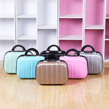 цена на Fashion Top Quality High Capacity Lovely Student Fair Lady Pure Color Zipper Portable Storage Box 14 Inch Mini Suitcase Leather.