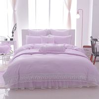 Bamboo Cotton Stain Bedding Set Full Queen King Size Lace Princess Korea Style Purple Beige Bed