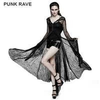 Gothic Punk rock Cosplay Black Sexy Lace Spider Web Sun Block Long With Hoodie Dress Free Shipping Y732