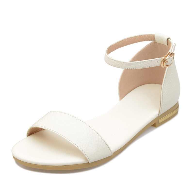 MEMUNIA BOYUTU 34-43 YENI yüksek kaliteli kadın sandalet düz yaz kadın rahat ayakkabılar hakiki deri sandalet siyah beyaz renk