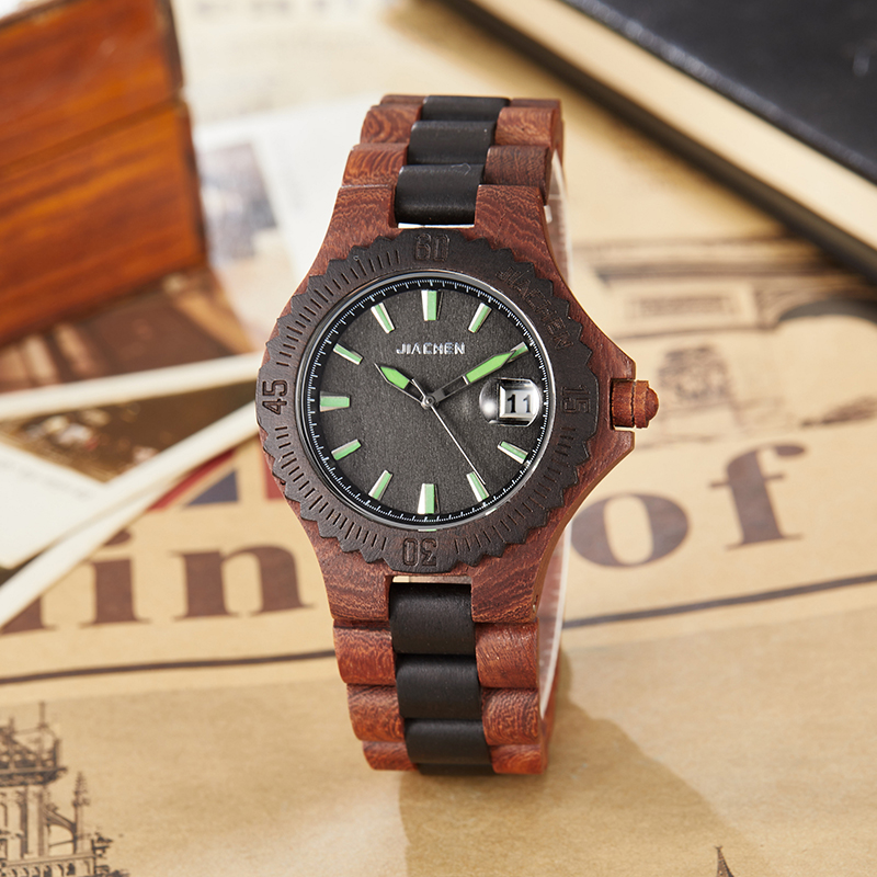 Vintage Mens Wood Watch Original Men Wristwatch Date Dial Luxury Famous Brand Quartz Men Wrist Watches Clock for Birthday Gifts