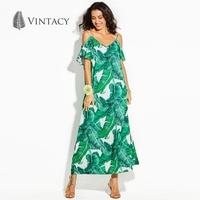 Vintacy Summer Beach Boho Dress Green Floral Print Plant Women Loose Casual Dresses Strap Backless Maxi