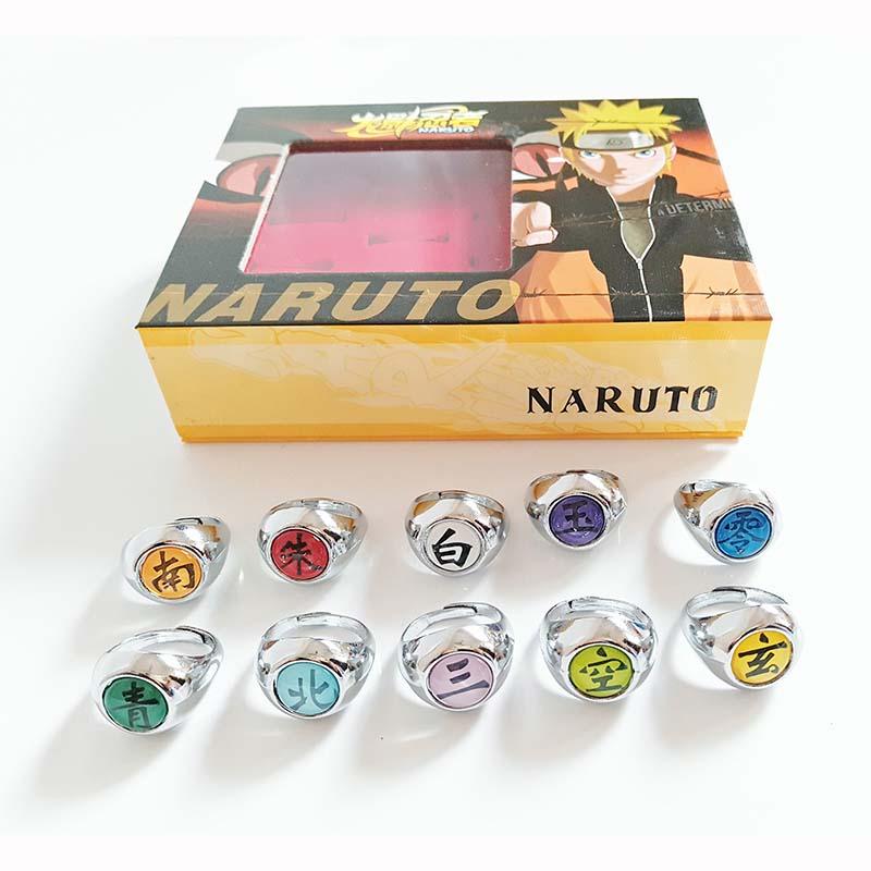 10 pcsset Anime NARUTO Ring Figure Akatsuki Member Cosplay Matel Model Rings Uchiha Itachi 2cm (9)