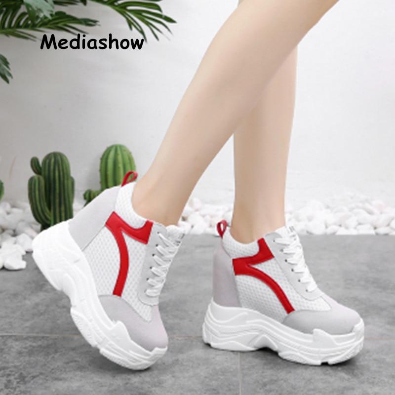2018 Donne Scarpe Casual Moda Scarpe Super High Piattaforma Donna Zeppe Scarpe Altezza Crescente Bianco Rosso Zapatos Mujer