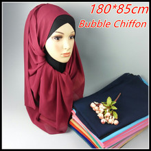 A 57  big size 180*85cm  Top sale   plain bubble chiffon hijab headband  shawl  summer muslim scarves scarf