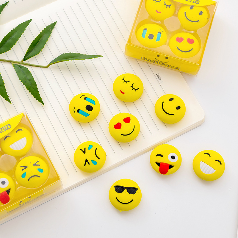 4 Pcs Cute Kawaii Smiley Rubber Eraser For Kids Gift For Children School Supplies Student Stationery Promotion Gift  Random Send