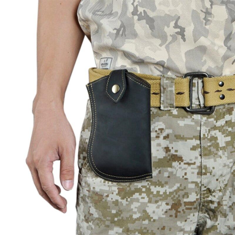 Crazy Horse cuir rétro hommes grande capacité 7 pouces poches pour téléphone portable Mini boutons couture décontracté poches