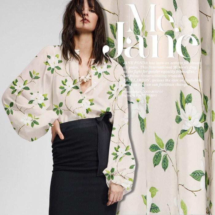 Tissu bleu et rose disponible en crêpe de soie satin de soie imprimé floral pour vêtements chemise cheongsam D670