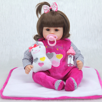 NPK New Arrival 42cm cotton body lifelike newborn Baby girl with plush toys limited Collection gifts Silicone Reborn Baby dolls
