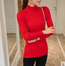 HAO HE SHEN New winter half Polo neck long sleeved Pullover Sweater Shirt short stretch sweater slim girl