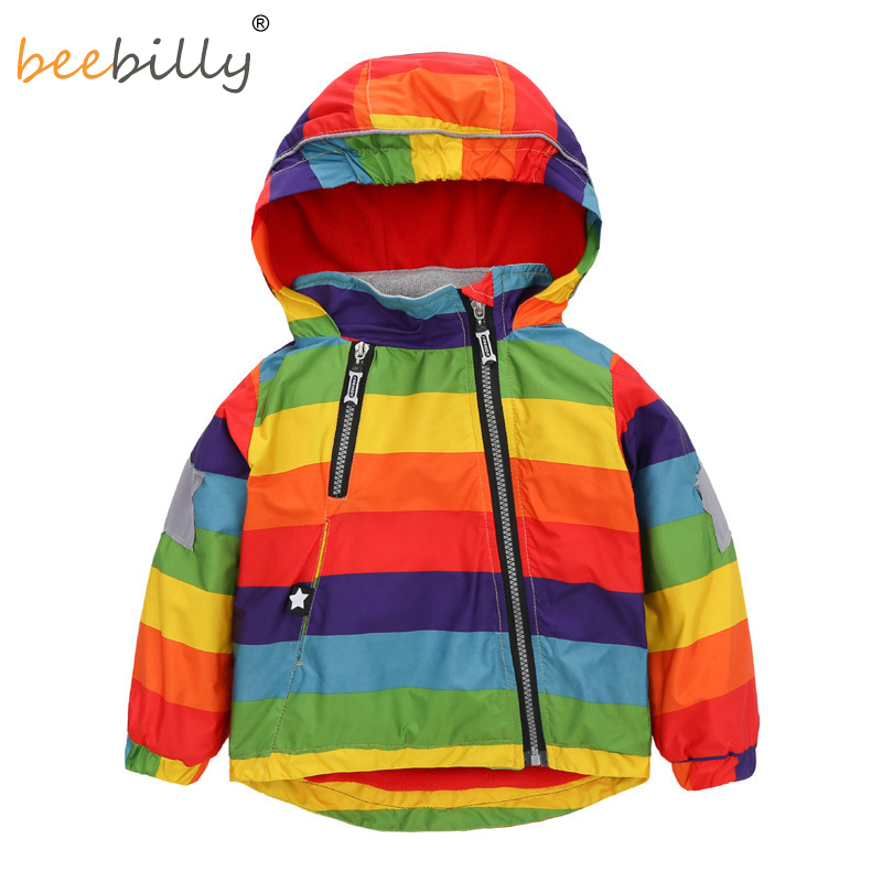 2017 regenbogen Kinder Jacken Frühling Herbst Windjacke Kinder Mäntel Baby Mädchen Jungen Kleidung Polarfleece Für 1-6 T jungen Jacke X23