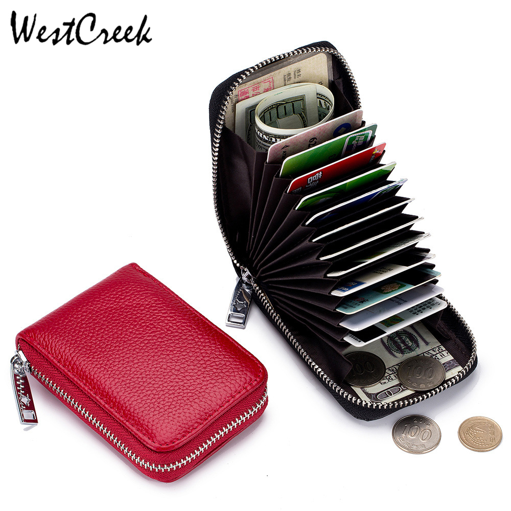 WESTCREEK Brand Genuine Leather Minimalist Organizer Women Business Card Holder Men Cowhide Travel Zipper Card Bag
